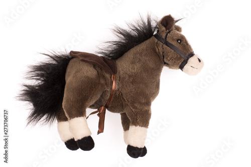 Fotografia, Obraz soft plush toy pony on a white background