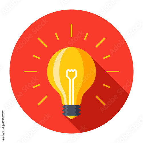 Photo  Light bulb glowing idea icon color vector illustration