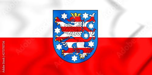 Valokuva  3D Flag of Thuringia, Germany. 3D Illustration.