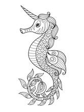 Sea Doodle Coloring Book Page Unicorn Seahorse