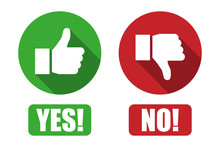Yes And No Button With Thumbs ...