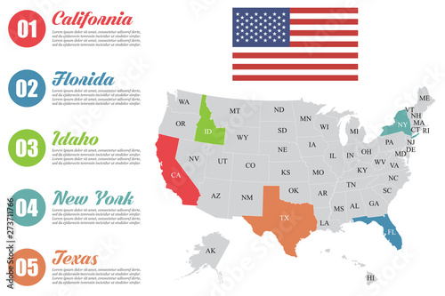 USA map infographic. Slide presentation. USA states business ...