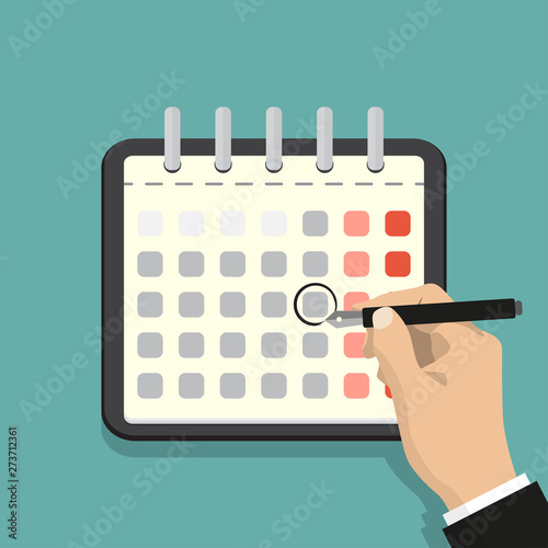 Calendar on the wall and hand marking one day on it. Flat vector illustration.