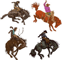 Vector Banner Poster With A Cowboy Rider Sitting On A Wild Horse Mustang And The Inscription Rodeo On The Background Of Wooden Boards In Retro Style