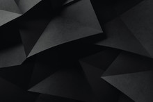 Geometric Shapes Of Black Paper, Composition Abstract