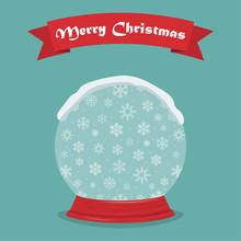 Snow Christmas Globe And Ribbo...