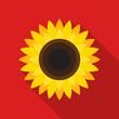 Leinwandbild Motiv Sunflower icon in flat style with long shadow on red background. Vector Illustration