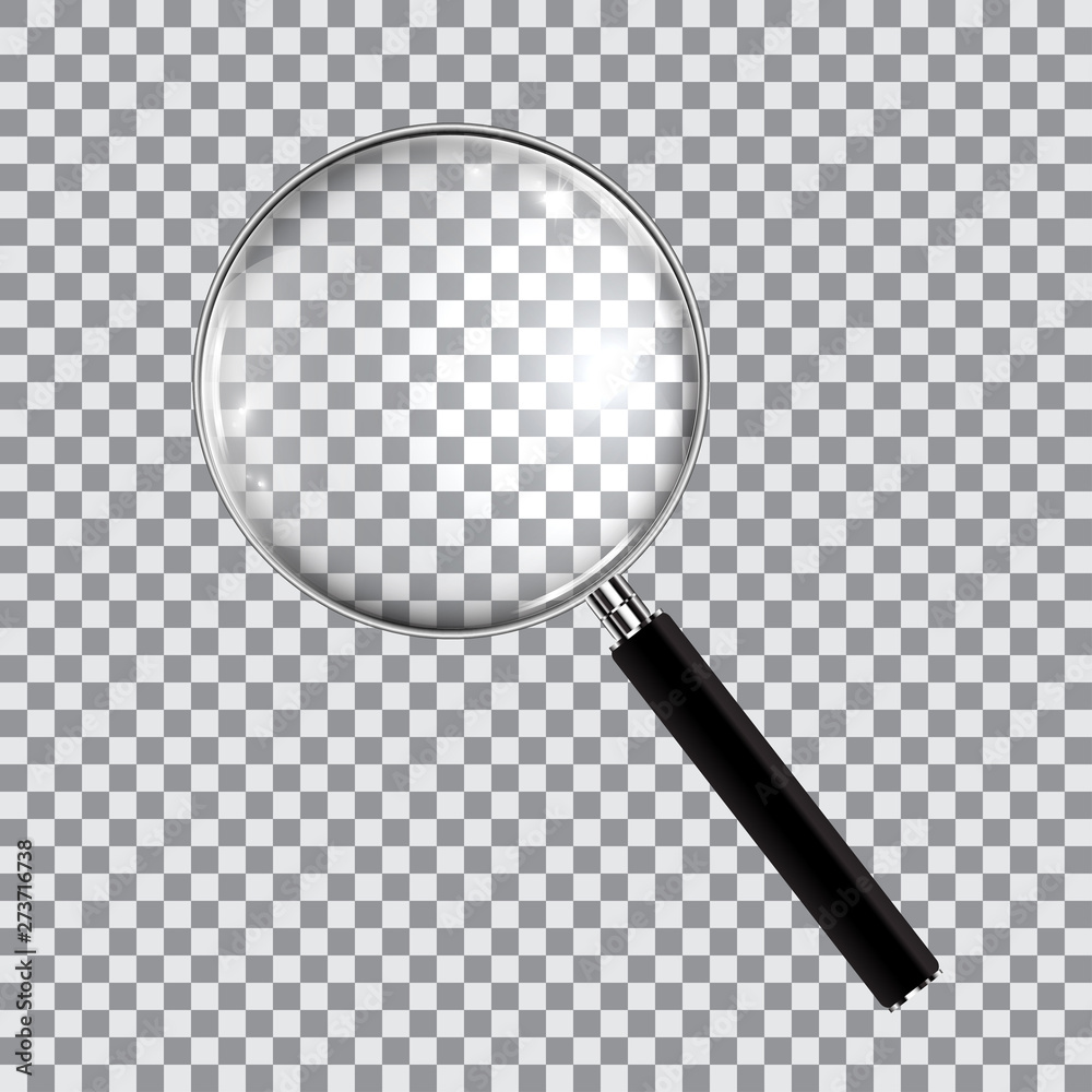 Fototapety, obrazy: Magnifying glass realistic isolated on checkered background, vector illustration