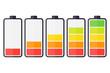 Leinwandbild Motiv Illustration of battery level indicators. Battery life, accumulator, battery running low, battery recharging vector