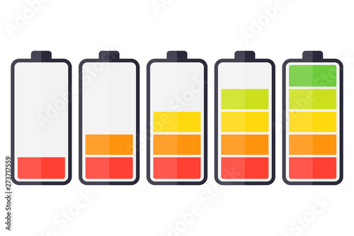 Obraz Illustration of battery level indicators. Battery life, accumulator, battery running low, battery recharging vector - fototapety do salonu