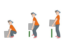 Man Lifts Weight Properly. Vector Illustration.