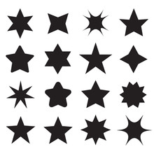 Set Of Different Shape Stars Icons For Design