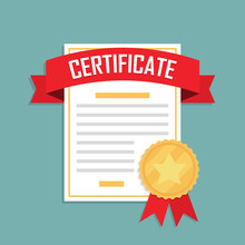 Certificate Icon With Ribbon And Medal In A Flat Design