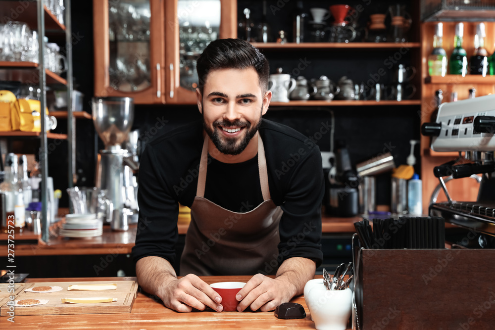 Fototapeta Portrait of barista with cup of coffee at bar counter