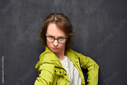 Valokuva  Portrait of woman with dissatisfied and capricious face