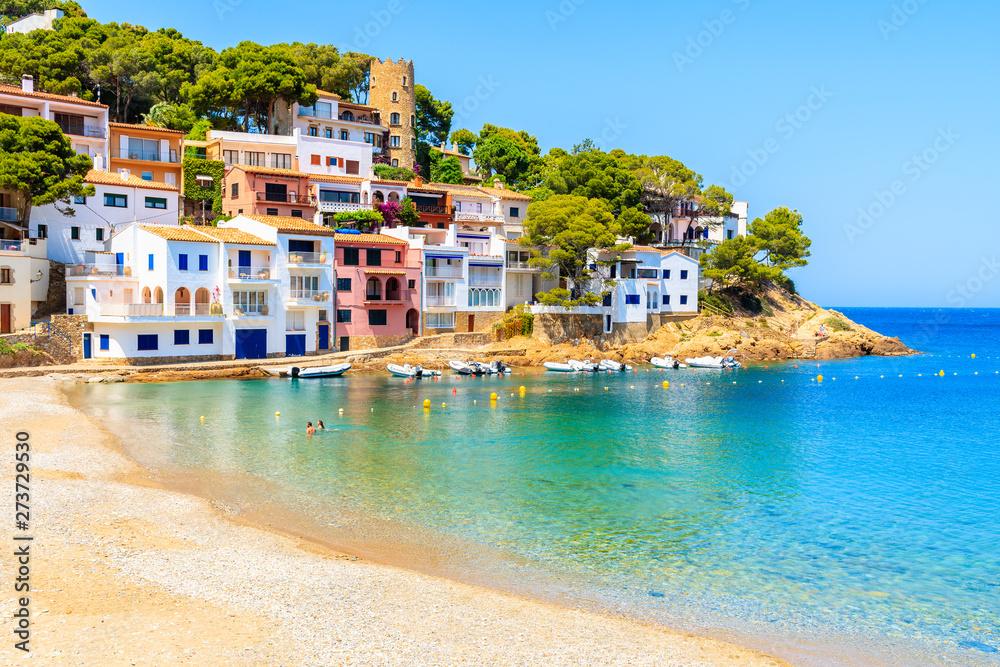 Fototapety, obrazy: Colorful houses in sea bay with beach in Sa Tuna coastal village, Costa Brava, Spain