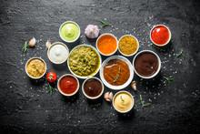 Set Of Sauces - Tomato Sauce, Pesto, Mustard, Barbecue Sauce, Guacomole, Mayonnaise.