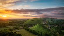 Corfe Castle Sunrise, Dorset England