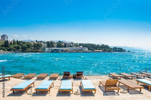 Poster Mediterraans Europa Split, Croatia, Adriatic coast, popular Bacvice beach, largest swimming resort in the city
