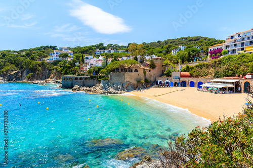 Keuken foto achterwand Strand Amazing beach in Calella de Palafrugell, scenic fishing village with white houses and sandy beach with clear blue water, Costa Brava, Catalonia, Spain