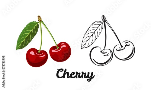 Fotografiet Cherry icon set isolated on white background