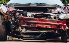 Crashed Muscle Car Close Up Fr...