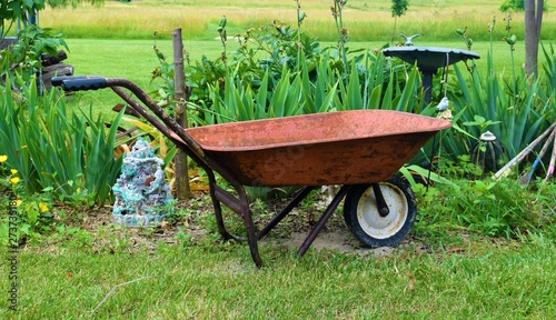 Photo Wheelbarrow in a Garden