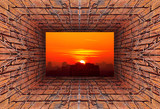 Fototapeta  - Kaleidoscopic gradient 3D view of old tunnel with brick wall