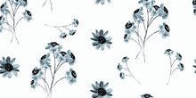 Trendy Floral Pattern. Watercolor Floral Seamless Pattern.