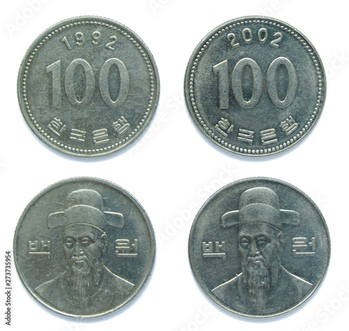 Papel de parede  Set of 2 (two) different years South Korean 100 won copper-nickel coins lot 1992, 2002 year