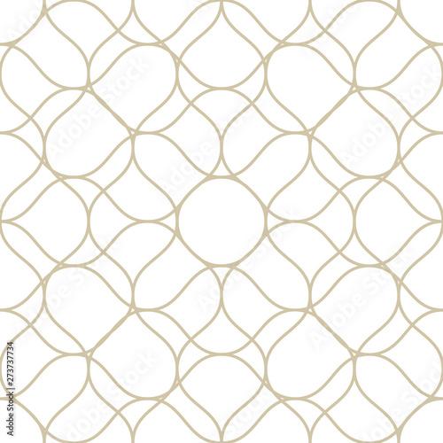 Fototapeten Künstlich Vector mesh seamless pattern with thin plaited wavy lines. Golden tissue, lace