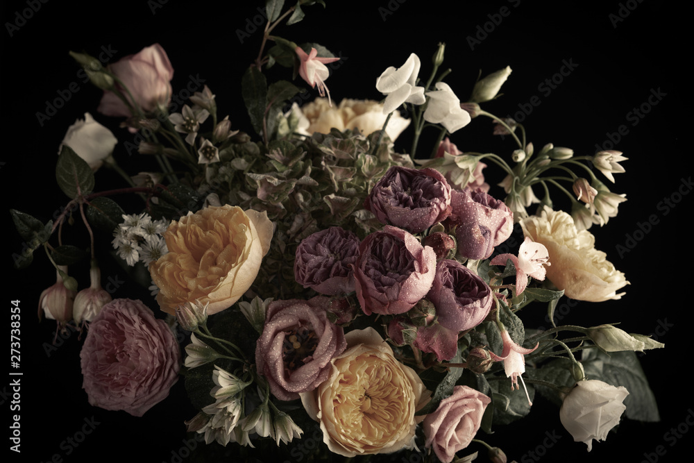 Fototapety, obrazy: Beautiful bunch of colorful flowers on black background in vintage style.