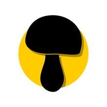 Black Mushroom, Silhouette Of A Mushroom Icon, Logo