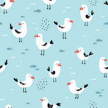 Seamless Pattern With Cute Seagulls. Perfect For Fabric, Baby Clothes, Textile. Marine Vector Background.