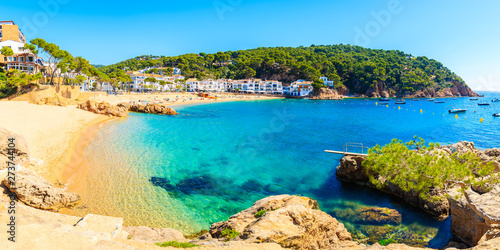Montage in der Fensternische Blau Panorama of amazing beach in Tamariu fishing village, Costa Brava, Spain