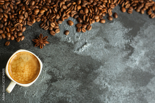coffee freshly brewed in a white cup serving of beverage (coffee grain). food. top.copy space