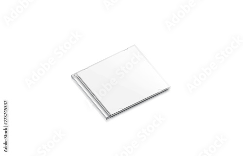 Obraz Blank white cd case mock up closed, side view, isolated, 3d rendering. Empty compact disk with movie mockup. Clear dvd case for digital multimedia or software template. - fototapety do salonu