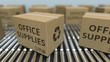 Carton boxes with OFFICE SUPPLIES text move on roller conveyor. Realistic loopable 3D animation