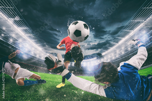Close up of a football action scene with competing soccer players at the stadium Canvas Print