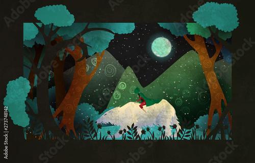 Dziewczyna jedzie na niedźwiedzia polarnego przed lasem, górami i nocnym niebem. Bajkowa ilustracja