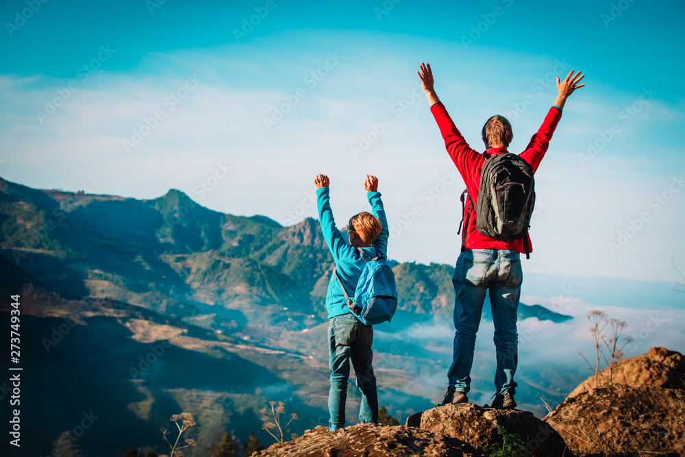 Fototapety, obrazy: father and son travel in nature, family hiking in mountains