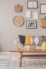 Fashionable Scandinavian Living Room Interior Design, Natural Accents Concept
