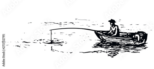 Fotografía  The man in the boat is fishing. Vector drawing