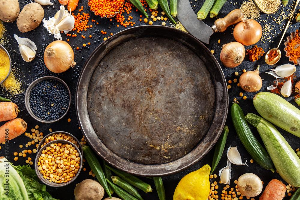 Fototapety, obrazy: Variety of fresh tasty vegetables on dark background
