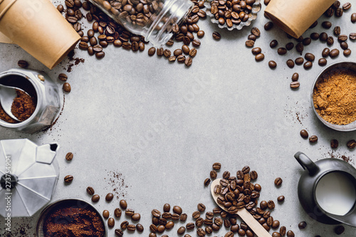 Fotografia Ingredients for making coffee flat lay