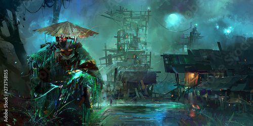 Photo drawn night fantastic cyberpunk style landscape with a soldier