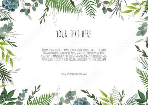 Obraz Green branches leaves foliage, border, frame. Floral poster, invite. - fototapety do salonu