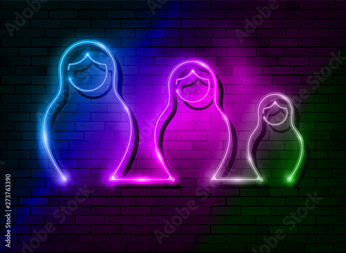 Tableau sur Toile Neon sign Russian nesting dolls Matrioska, set lighted sign icon symbol of Russia