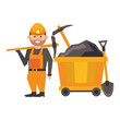 Mining worker with picks and shovel in train carrier