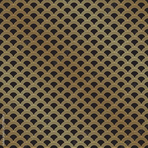 Seamless Art Deco golden scallop pattern background